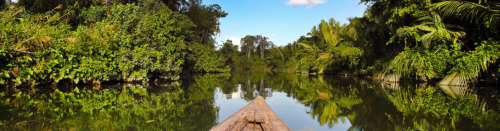 Boat trip on La'fau River to the interior of Nias Island. North Nias (Nias Utara), Indonesia.