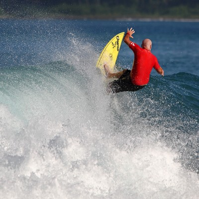 Surfing at Afulu on the west-coast of North Nias.