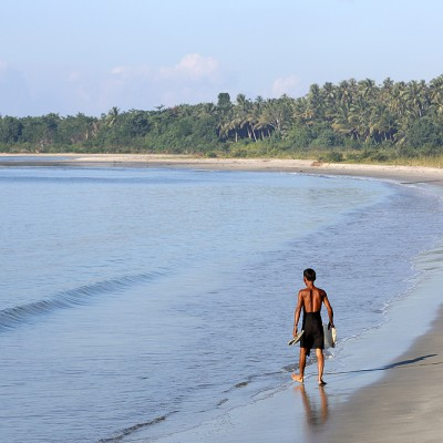 Afulu Beach on the west-coast of Nias Utara.