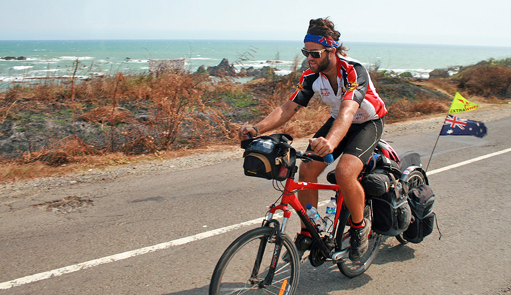 Long-distance cyclist Rian from Australia visited Nias on a 2009 tour across Indonesia (www.eatsleepsurf.com.au)
