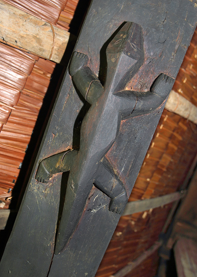 Crocodile carving in the roof of a North Nias traditional house.