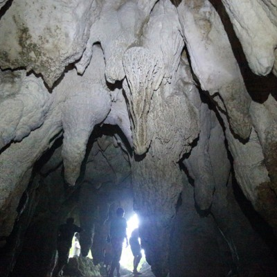 Stalactite formations in Nisuiaro Cave, Alasa sub-district, Nias Utara.