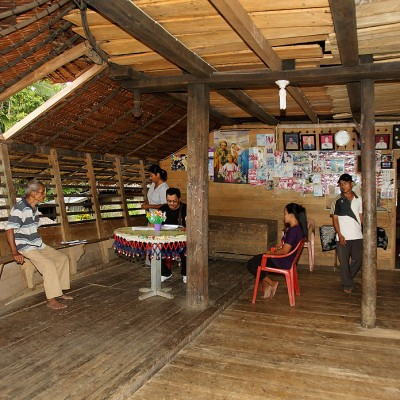 Interior of traditional North Nias house in Humene Sihene Asi village, Tugala Oyo sub-district.