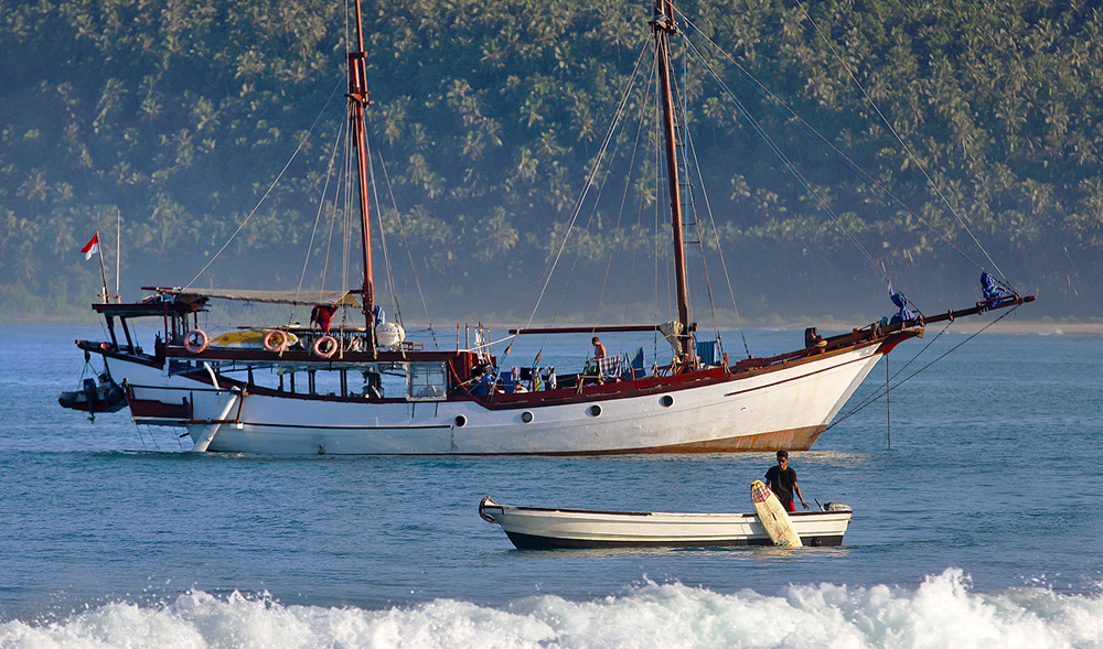 Surf charter boat JIWA at Afulu. JIWA is one of the boats that regularly visit the west-coast of North Nias during the surfing season.