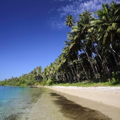 Beach on La'fau Island, just off the north coast of Nias Utara.