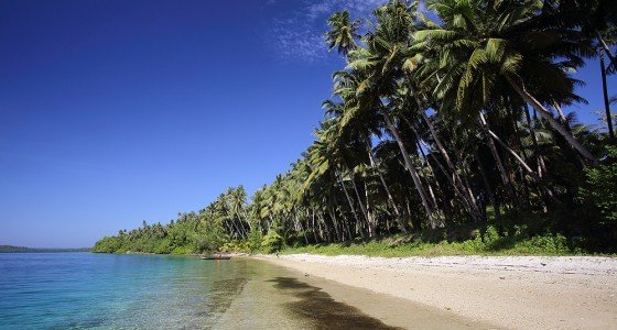 Beach on La'fau Island, just off the north coast of Nias Utara.