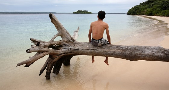 Relaxing on Panjang Island, off the north coast of Nias Utara.