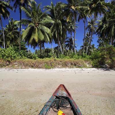 Beach on Makora Island, just off the north coast of Nias Utara.