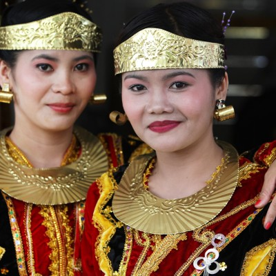 North Nias girls wearing traditional dress.