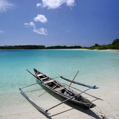 Perahu fishing boat in Wunga Island lagoon, off the west-coast of Nias Utara.