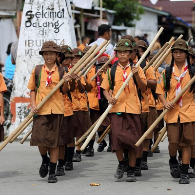 Parading scouts on Pramuka Day (14 August - Int. Scout Day). Lahewa, North Nias Regency.