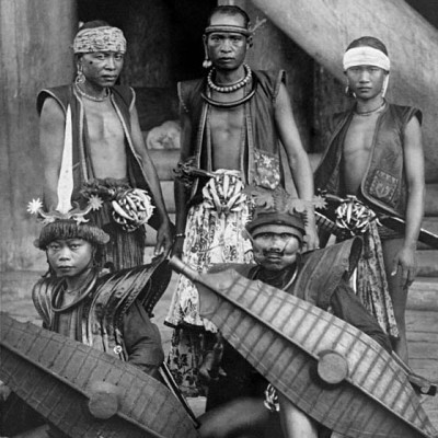 A group of warriors in Bawomataluo village, South Nias. National Museum of World Cultures. Collection number: TM-10004813.