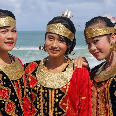 Girls wearing traditional dress during a ceremony in Laurufadoro Village, Alasa sub-district, North Nias.
