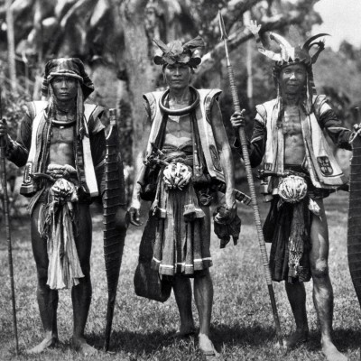 Warriors from Hilisimaetano village, South Nias. National Museum of World Cultures. Collection number: TM-60038145.