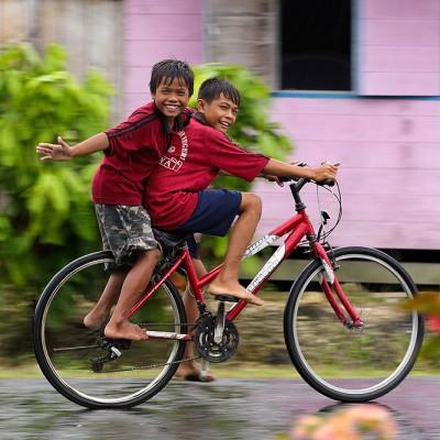 Smiling kids in Lahewa, North Nias Regency.