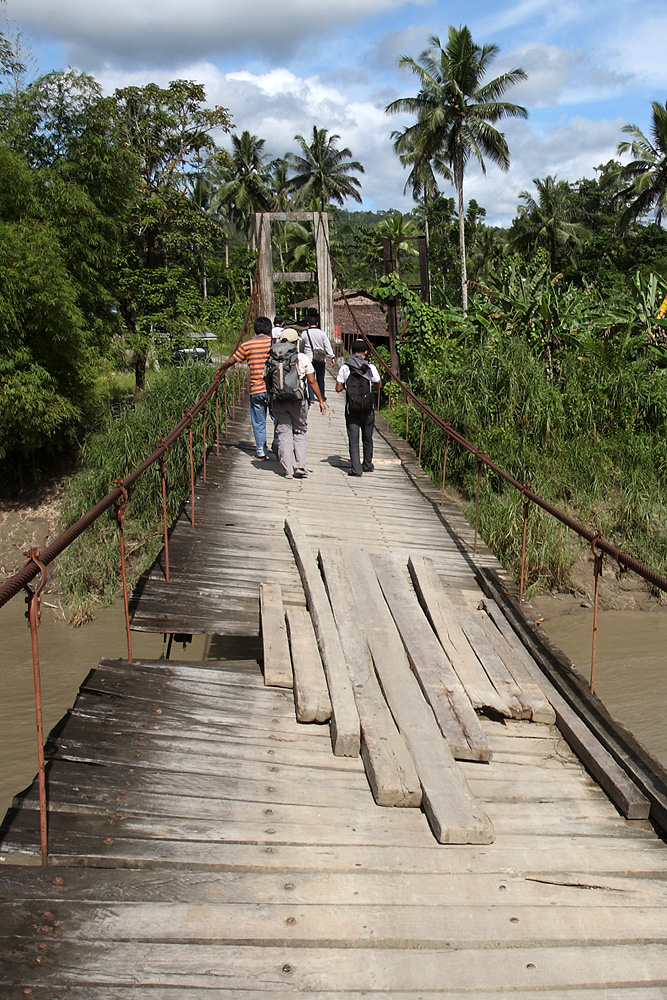 Suspension bridge in the south of North Nias. Some remote areas of the interior can only be accessed by motorbike.