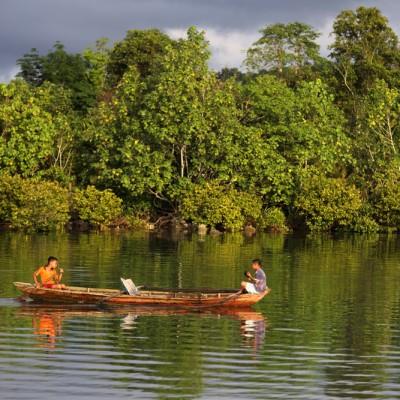 Small boat (perahu) in Lahewa lagoon. North Nias Regency.