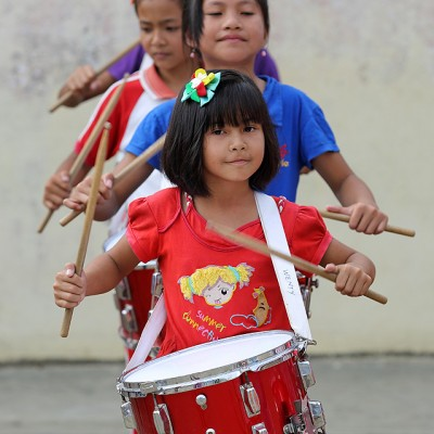 School marching band practise in Lotu, North Nias Regency.