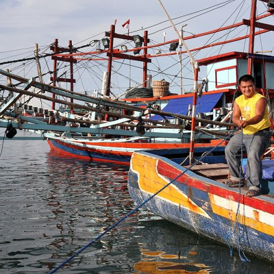 Fishing boats in Lahewa harbour, North Nias Regency.