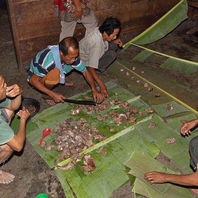 Pork meat plays a huge part in Nias culture. It is shared according to a traditional protocol in use to this day.
