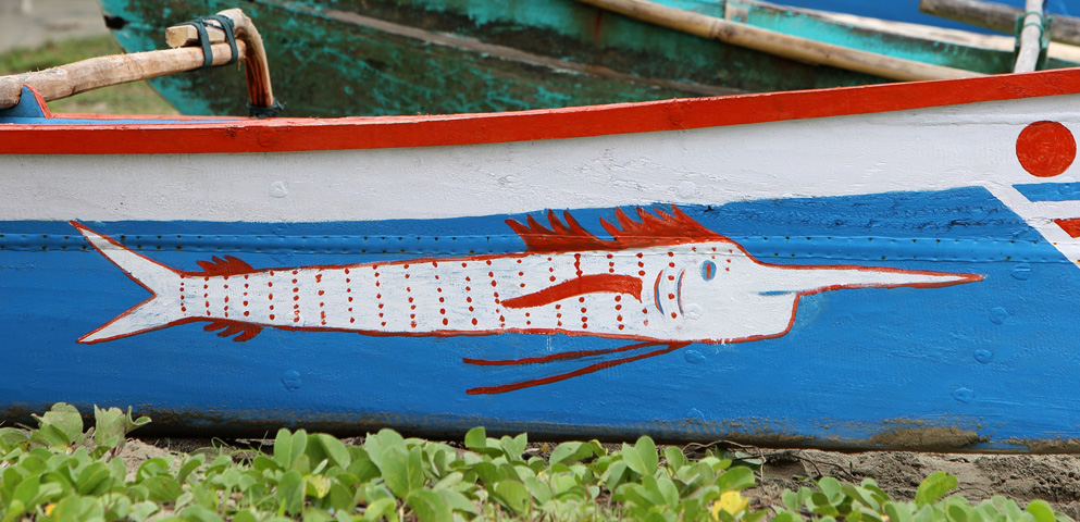 Marlin painted on the side of a local fishing boat on the Nias east-coast.