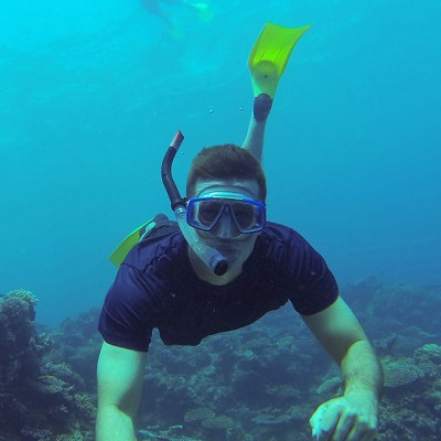 Snorkelling on the house reef at Tureloto Beach, North Nias Regency (Nias Utara).