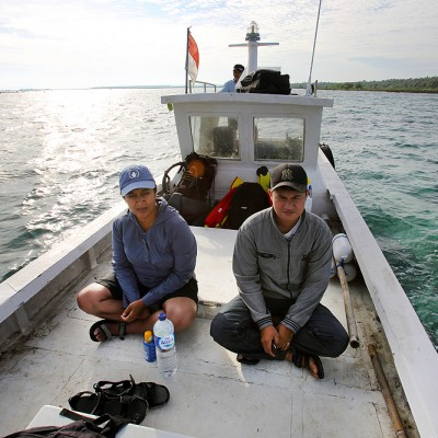 Boat trip to Maose Island during a survey of Islands off the coast of North Nias. As it turns out, even Nias Islanders get sea sick!