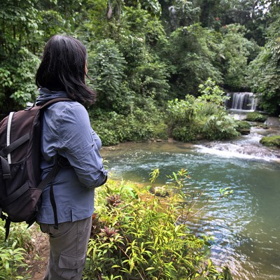 Ecotourism; hiking in the interior of Nias. This is Luaha N'ndroi waterfall in Alasa sub-district, North Nias Regency (Nias Utara).