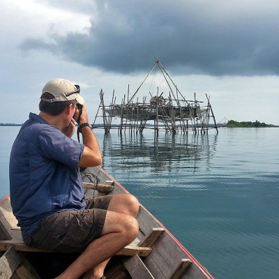 Plenty of photo opportunities for photographers; this is a Bagan, a stationary fishing platform on the north coast of Nias Utara.