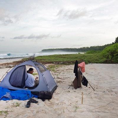 Camping on Lasambo Beach, a beautiful hidden beach on the North Nias west-coast.