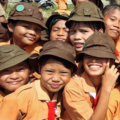 Throughout Indonesia school children are wearing scout uniform on Fridays. These girls are from Lotu in North Nias.